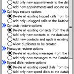 在還原資料之前,軟件可讓用戶選擇還原的內容,例如訊息的資料,接著會出現還原資料的選項,裡面備有先刪除所有內容或只是加入新的內容。