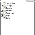 使用PIM Backup首先要選取備份或還原,同時也要點選相關的備份內容,如聯絡人。至於用來備份指定的檔案或資料的自定備份功能,則要在相關選項中加入相關檔案。