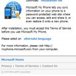 透過Windows Mobile手機的Internet Explorer進入http://myphone.microsoft.com/install便可下載及安裝My Phone軟件。