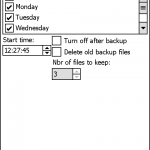 之後選取備份檔案的儲存路徑,最好使用記憶卡作儲存。按下Schedule按鈕後便可設定定時自動備份的功能,在這裡只要選取備份的日期及時間,到時軟件便會自動進行備份。