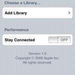 透過Remote來操控iTunes,首先要進行配對,執行Remote後先按Add Library,用以連接iTunes的歌曲資料庫,當配對後將來不用再設置。