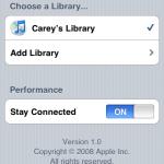 完成配對的過程後,Remote的主畫面便會顯示出已連接的iTunes歌曲資料庫名稱,同時也備有長期連線的選項,啟動後每次使用Remote時都會自動連接。